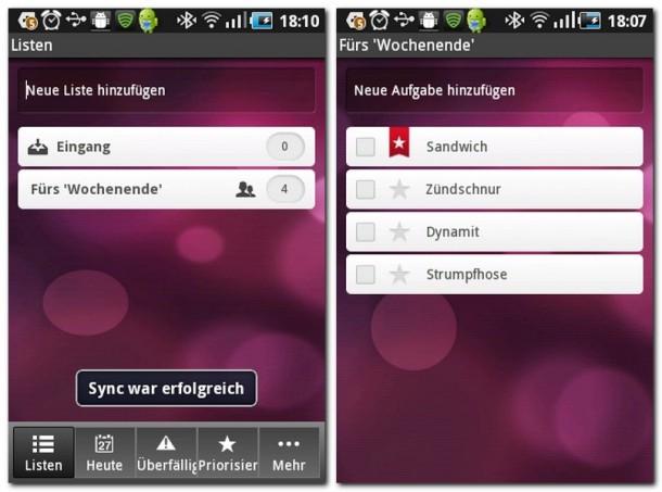 Vorbildlich: Zwischen den einzelnen Plattformen syncht Wunderlist automatisch (Bild links).