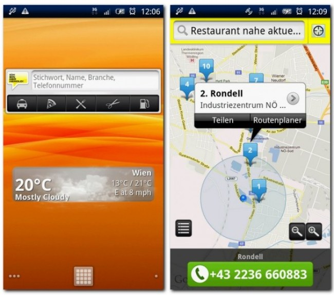 HEROLD mobile mit SuchboxWidget.