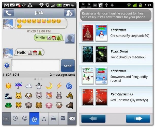 Nutzbringende Helferlein wie beispielsweise einfügbare Smileys und Emoticons findet man überall in Handcent (Bild links). Die Themens sind einer der Premium-Services, die mittels Einmalzahlung freigeschaltet werden (Bild rechts).