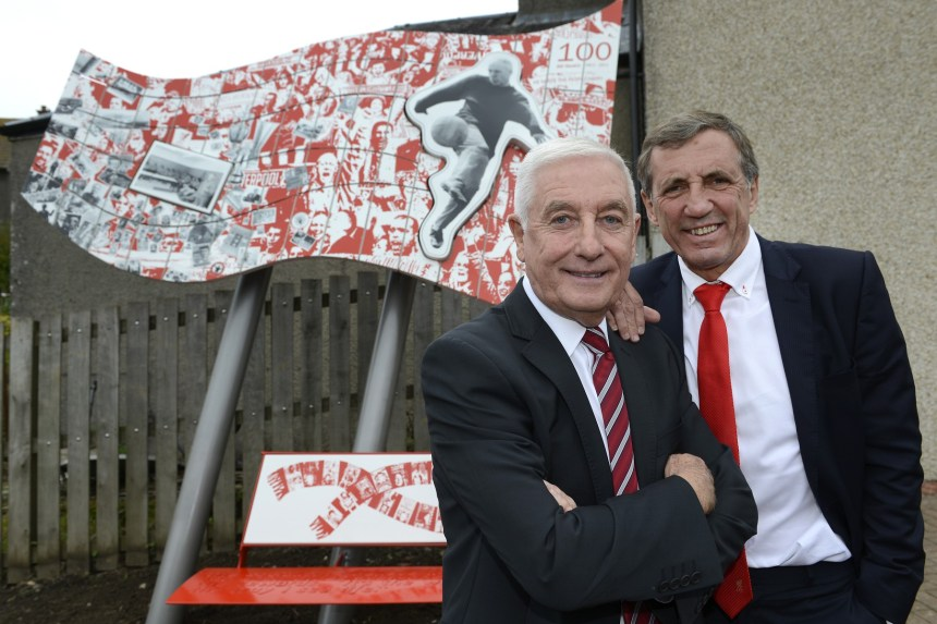 Roy and Alan with the Shankly artwork