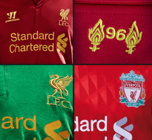 LFC's home kit for 2012-13, with the badge from the 2010-12 kit bottom right