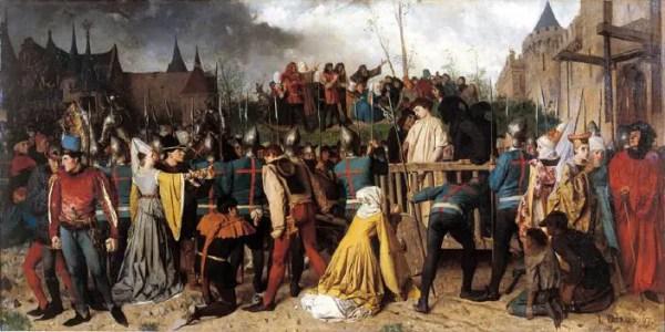 Preparando la pira de Juana de Arco