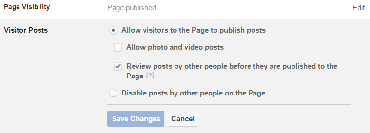 visitors can posts to your facebook page