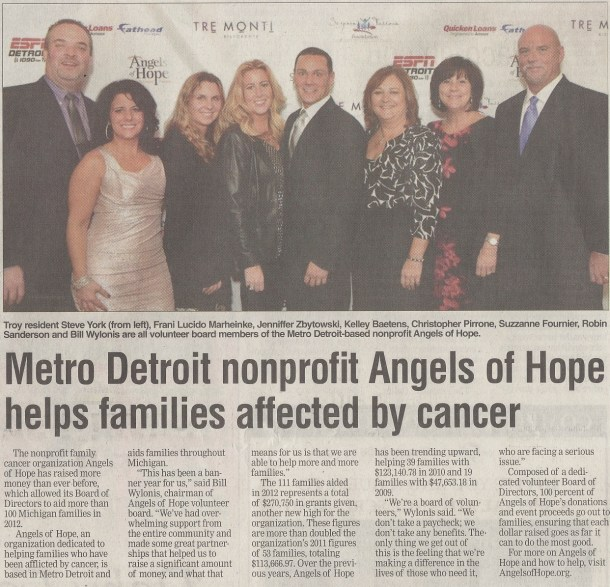 Metro Detroit nonprofit Angels of Hope helps Michigan families affected by cancer