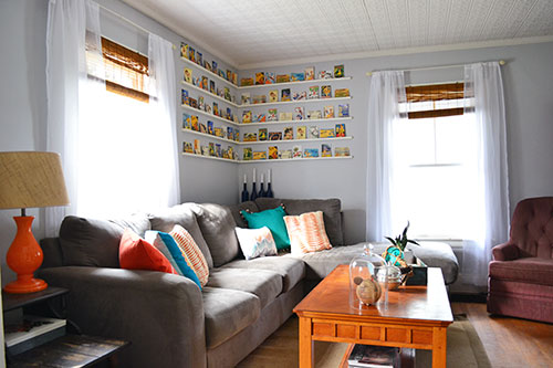Living Room With Shears And Bamboo Blinds