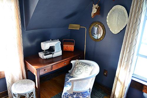 Brass Pharmacy Lamp In Guest Room