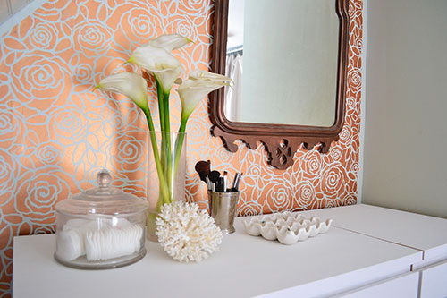 Stenciling Copper Roses Accent Wall