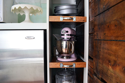 Organized Kitchen Baking Pantry With Pull Out Shelves