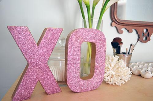 Valentine's Day Glitter XO Letters