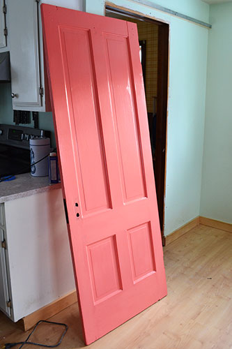 Coral Painted Bedroom Door