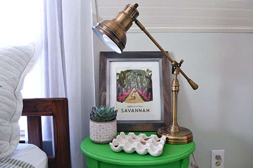 Green Nightstands With Brass Lamps