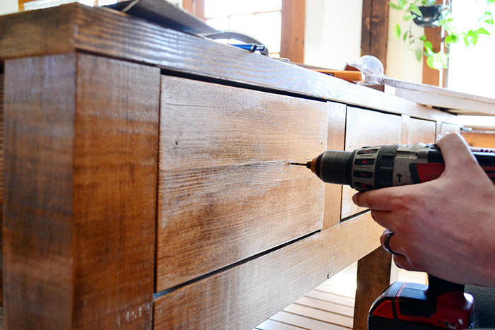 Pre Drill Holes In Kitchen Island Drawers To Prevent Wood From Splitting When Attaching Hardware