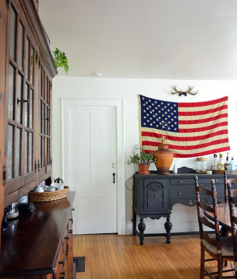 Renovation progress in the dining room with an american flag