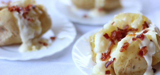 Baked Potato with Cheese Sauce and Bacon Wide