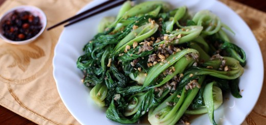Stir Fried Bok Choy and Minced Pork Wide