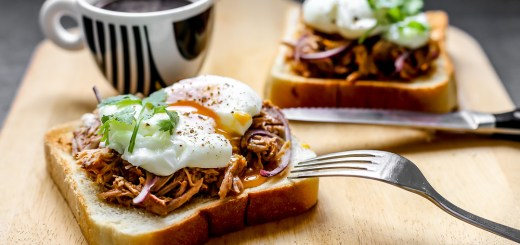 Open Faced Sandwich of Spicy Pulled Pork and Poached Egg Wide