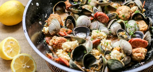 Spanish Meatballs with Clams, Chorizo & Squid Wide