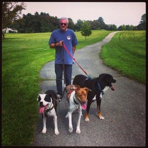 Tom Hickey with his dogs. (Facebook photo)