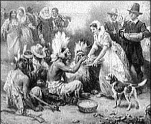 "Excerpt from J.L.G. Ferris painting ""The First Thanksgiving."""