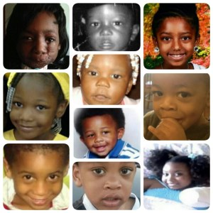 Ten of the many dozens black children killed or disfigured by pit bulls since 2010. From top left: Zainabou Drame, 6, mauled in 2014 days after Cincinnati repealed ordinance excluding pit bulls; Allen Young, 21 months, killed in 2012 in Bamberg, SC; Amiyah Dunston, 9, killed in Elmont, NY, 2015. 2nd row: Harmony Halyer, mauled in New Brunwick, NJ, 2014; TayLynn DeVaughn, 2, killed in Forest Hills, PA, 2015; Kaden Muckleroy, 2, killed in Longview, TX, 2010; Beau Rutledge, killed in Atlanta, GA, 2013. 3rd row: Kasii Haith, 4, killed in Felton, DE, 2014; Camari Raymane Robinson, 2, killed in Killeen, TX 2014; Erin Ingram, 8, mauled in Atlanta, 2010.