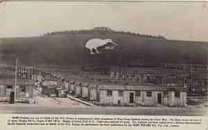 1918 postcard showing the chalk kiki overlooking Bulford,  England.