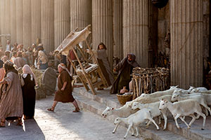 """This version of """"Jesus cleanses the temple,"""" from www.LDS.org, puts lambs escaping sacrifice at the center of the scene."""