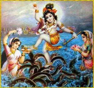 Krishna dancing on Kaliya Naag.