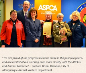 The Albuquerque Animal Welfare Department and the American SPCA celebrated a promotional partnership in 2014.  (ASPCA photo)