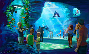 """SeaWorld """"Blue World"""" concept drawing, for exhibts meant to replace """"Shamu"""" shows."""