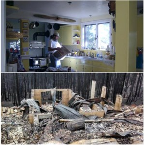 Rick & Lynn Bogle's lost cabin, before & after the fire. (Facebook)