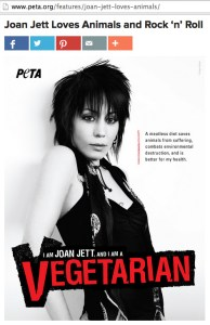PETA posted this web page promoting Joan Jett in 2008.