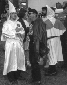 KKK members leafleting at the 1992 Fred C. Coleman Memorial Pigeon Shoot in Hegins, Pennsylvania. (Merritt Clifton photo)