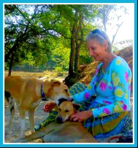 Erika Abrams & two dogs at the Animal Aid hospital & sanctuary in Udaipur, India.