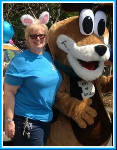 Dallas Animal Services chief Jody Jones & mascot. (Facebook photo)