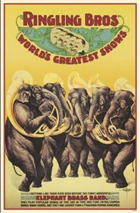 Elephants were front-and-center in this mid-20th century Ringling poster.