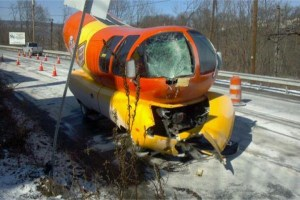 The Oscar Mayer Wienermobile in February 2015 sustained damage from skidding off the road near Enola, Pennsylvania. (Facebook photo)