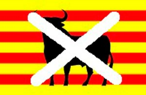 Banner used by Catalonian nationalists opposed to bullfighting.   (Catalunya Accio)