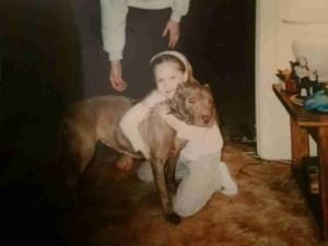 Ashton Blackwell with her childhood pit bull Rosie.
