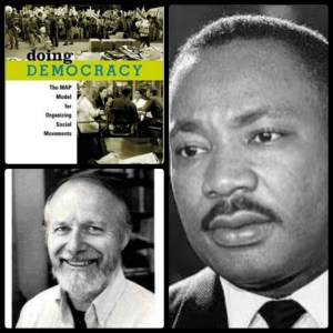 Clockwise: Bill Moyer's book Doing Democracy, Martin Luther King Jr., and Bill Moyer himself.