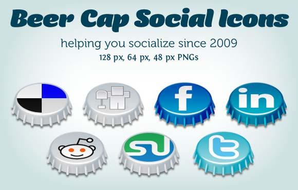 cap social icon set