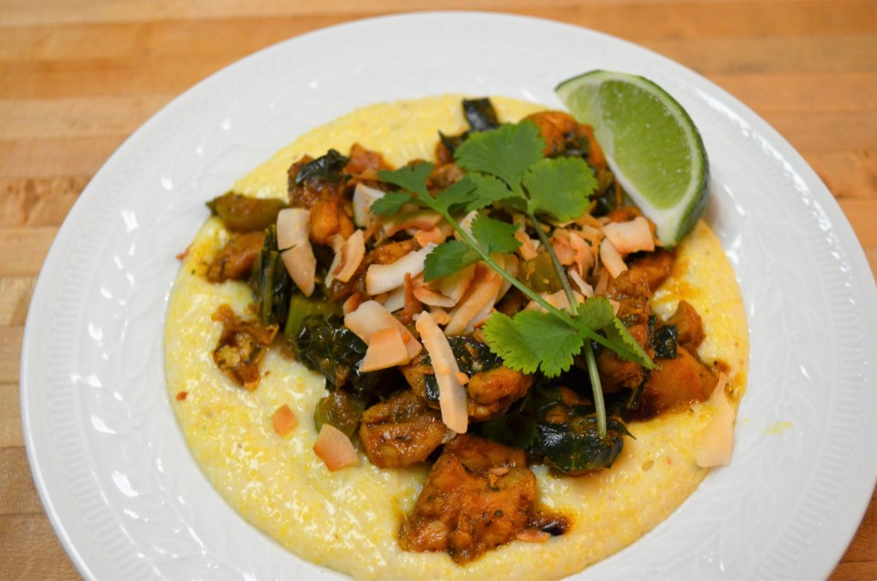 Trinidadian chicken curry with coconut polenta and collard for Creamy polenta with mushrooms and collards