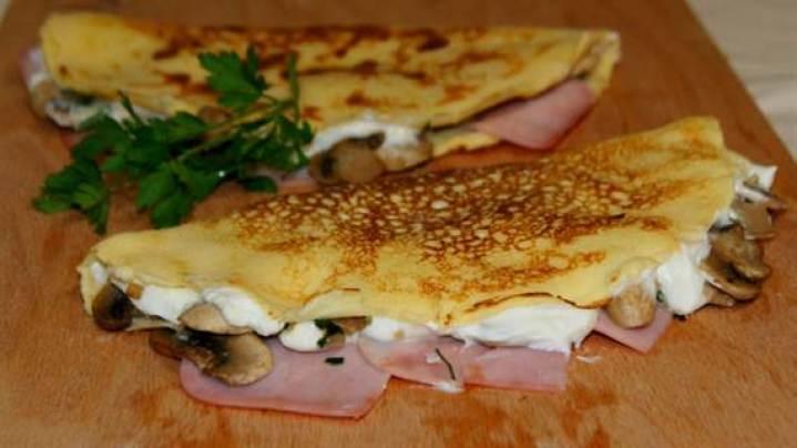 recetas fáciles para cenar. crepes de jamon y queso ligth
