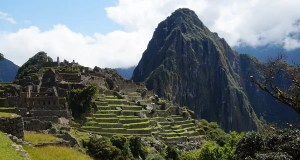 The view on Machu Piccu from the entrance, with parts of the industrial sector