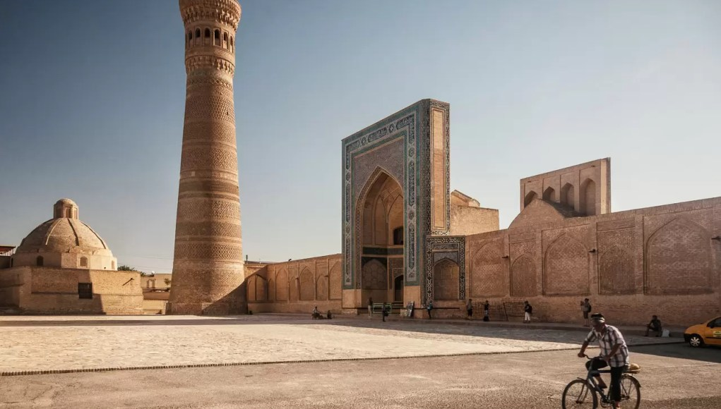 An ancient minaret in Bukhara in Uszbekistan