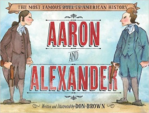 Aaron Burr and Alexander Hamilton, holding pistols, face each other, ready to duel.