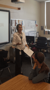Annette Bay Pimentel presenting to a classroom.