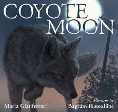 A coyote in the moonlight.