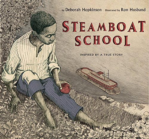 African American boy looks at a steamboat in the river.