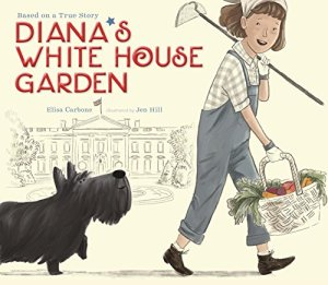 Girl, in overalls and with hoe, walks in front of the White House.