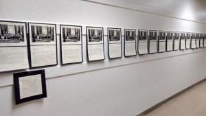 Hallway of an elementary school where kids' writing hangs
